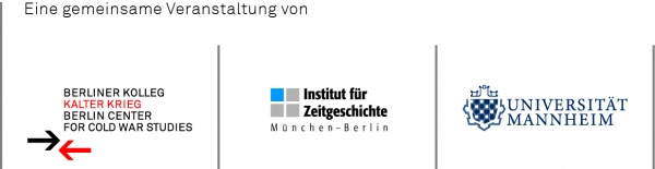 Logoleiste der Veranstalter der INF-Tagung 2017: Berliner Kolleg Kalter Krieg, Institut für Zeitgeschichte München - Berlin, Universität Mannheim